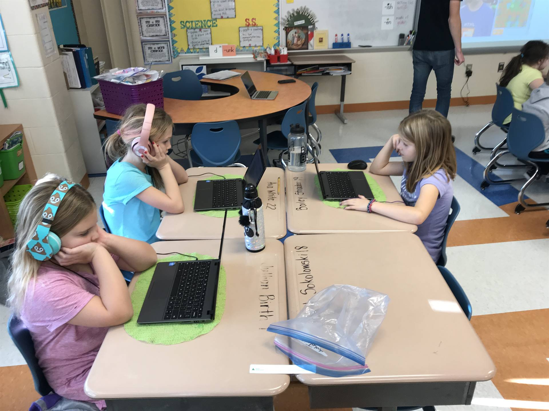 Students learn coding through games and other activities.