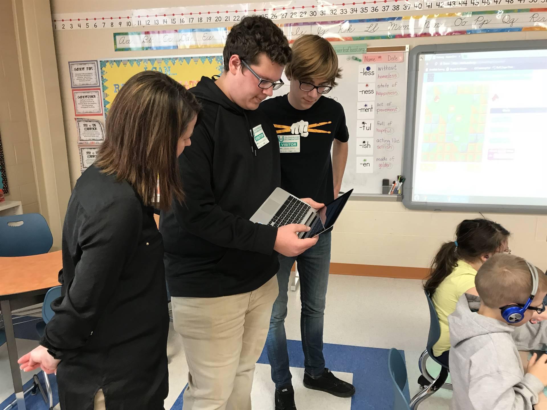 Students use Blockly, a kid-friendly computer programming language.
