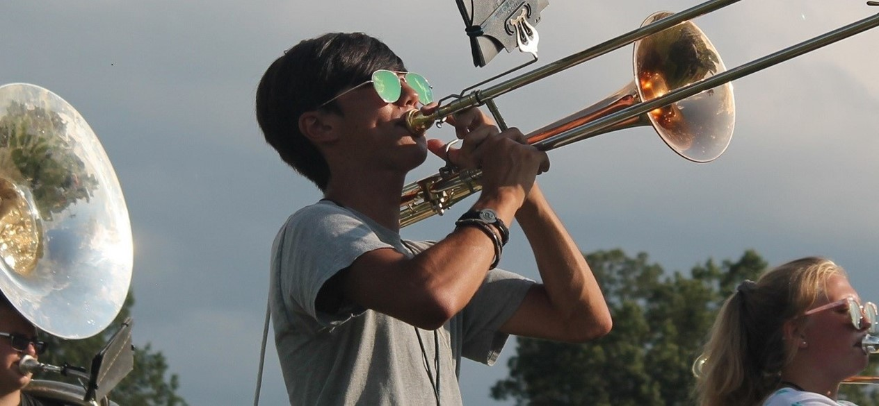 CHS Marching Band trombone player